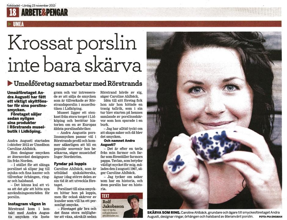 Artikel om Andra Augustis samarbete med Rörstrand i tidningen Folkbladet.