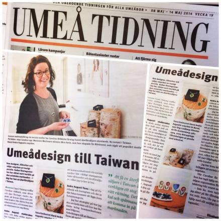 Artikel om Andra Augustis arbete med sociala medier och utländska återförsäljare i Umeå Tidning.