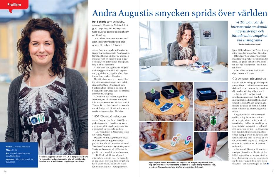 Reportage om Andra Augusti i Bostadens kundtidning Hej.